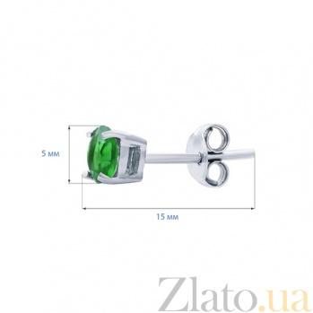 Серебряные серьги-гвоздики с зеленым цирконом Мечта AQA--2202070/5G