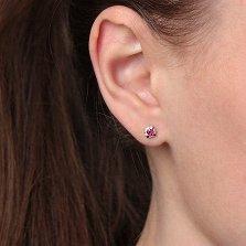 Золотые серьги Малиновое счастье с рубином и бриллиантами