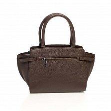 Кожаная деловая сумка Genuine Leather 6513 коричневого цвета на молнии, с металлическими ножками