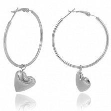 Серьги-подвески из серебра Влюбленность