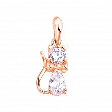 Золотой кулон в красном цвете Волшебные сказки в виде кота с белыми фианитами