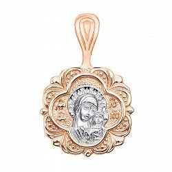 Узорная ладанка в комбинированном цвете золота Богородица с родированием 000130878