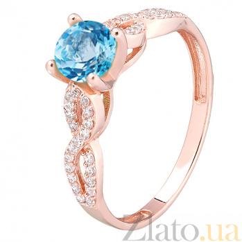 Кольцо в красном золоте с голубым топазом Анфия 000032269