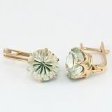 Золотые серьги с зеленым аметистом Корнелиа