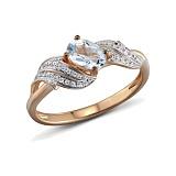 Кольцо из красного золота Марджи с бриллиантами и топазом