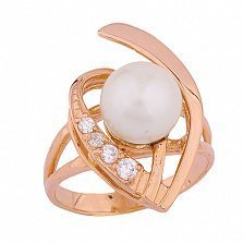 Золотое кольцо с жемчугом и фианитами Каррин
