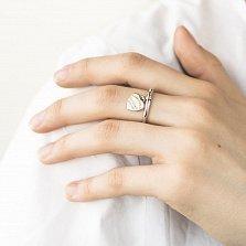 Серебряное родированное кольцо Энни с позолоченным сердечком в стиле Тиффани