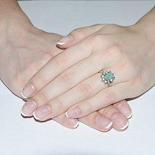Серебряное кольцо с изумрудом Байлин