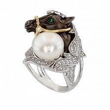 Кольцо Лошадь в белом золоте с фианитами