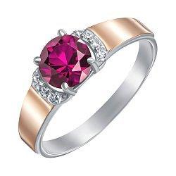 Серебряное кольцо с золотыми накладками, рубином и фианитами 000134970