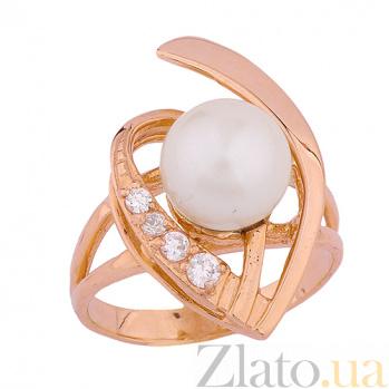 Золотое кольцо с жемчугом и фианитами Каррин ONX--к02195