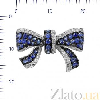Кольцо из белого золота Бантик с бриллиантами и сапфирами 000081014