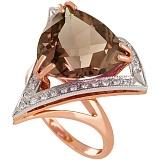 Золотое кольцо с раухтопазом и фианитами Диамара
