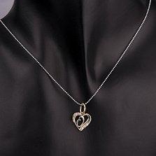 Золотой кулон-сердце Буква О в комбинированном цвете с фианитами