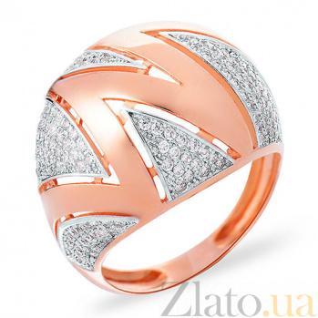 Золотое кольцо с фианитами Зигзаг SUF--152756