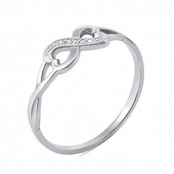 Каблучка з білого золота з діамантами та родіюванням 000134550