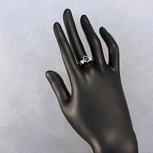 Золотое кольцо Сигурни в комбинированном цвете с лондон топазом и фианитами