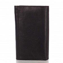 Кожаный кошелек Genuine Leather p181 черного цвета на кнопке