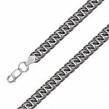 Серебряная чернёная цепь Терис в плетении питон, 7мм