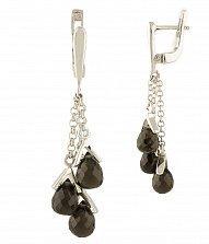 Серебряные серьги-подвески Юджени с раухтопазом