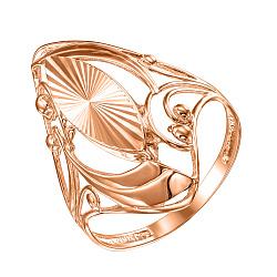 Золотое кольцо Леди Совершенство в красном цвете с узорами и алмазной гранью