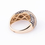Золотое кольцо Виолетта с коньячными и белыми бриллиантами