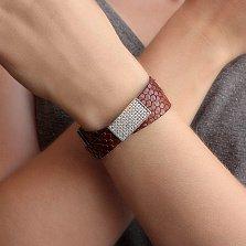 Двойной браслет Дивина из эко-кожи под рептилию с серебряными замком и вставкой в фианитах