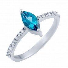 Серебряное кольцо Имма с топазом лондон и фианитами
