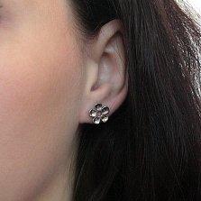Серебряная серьга-пуссета Цветок