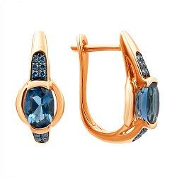 Золотые серьги в комбинированном цвете с лондон топазами и бриллиантами 000139518