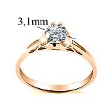 Помолвочное кольцо в красном золоте с бриллиантом Романтика Парижа, 3,1мм