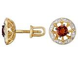 Серьги из красного золота с гранатами и бриллиантами Мия