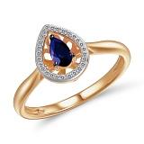 Кольцо Сусанна из красного золота с бриллиантами и сапфиром