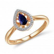 Кольцо из красного золота Сюзанна с сапфиром и бриллиантами