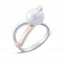 Серебряное кольцо Ребит с золотой вставкой и жемчугом