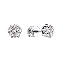 Серебряные серьги-пуссеты с бриллиантами 000022345