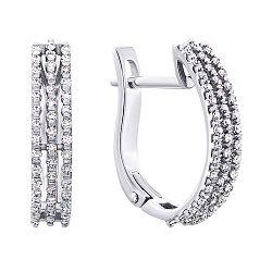 Золотые серьги в белом цвете с бриллиантами 000117301