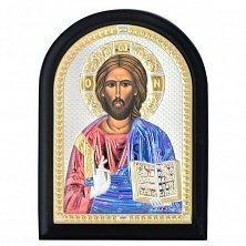 Икона на деревянной основе Иисус Христос Спаситель с позолотой и цветной эмалью, 14х19
