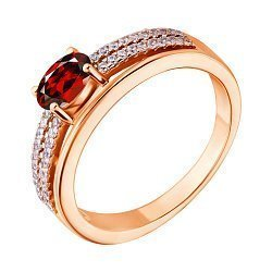 Серебряное кольцо с красным фианитом 000028420