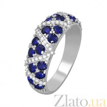 Золотое кольцо с сапфирами и бриллиантами Роксана KBL--К1053/бел/сапф
