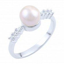 Кольцо из серебра Пруденс с жемчугом и фианитами