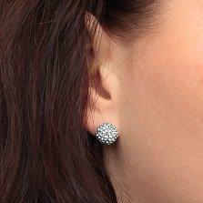 Серебряные пуссеты-шары Блеск со светло-бирюзовыми кристаллами Swarovski