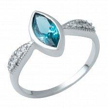 Серебряное кольцо Юнона с лондон топазом и фианитами