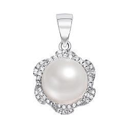 Серебряная подвеска с жемчугом и фианитами 000137410