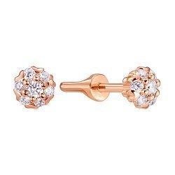 Серьги-пуссеты из красного золота с бриллиантами 000140082