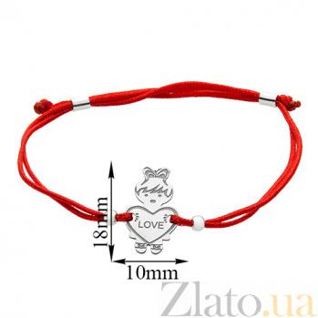Шелковый браслет со вставкой Девочка Love 000022693