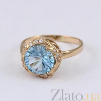 Золотое кольцо с голубым топазом и фианитами Атлантида 000024486