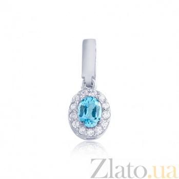 Золотой подвес Белинда в белом цвете с голубым топазом и фианитами EDM--П4034/1ТОПАЗ