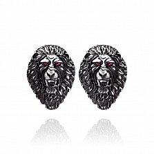 Серебряные серьги Готические львы с синтезированными корундами и чернением