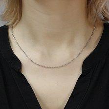 Серебряная цепочка Моника плетения ролло с родием, 1мм